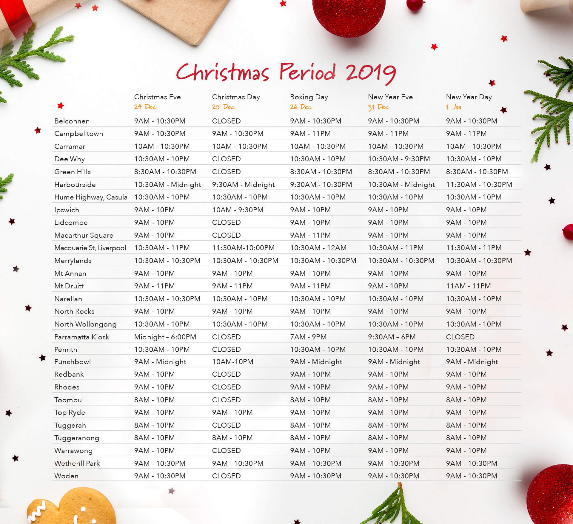 Christmas Holidays Trading Hours